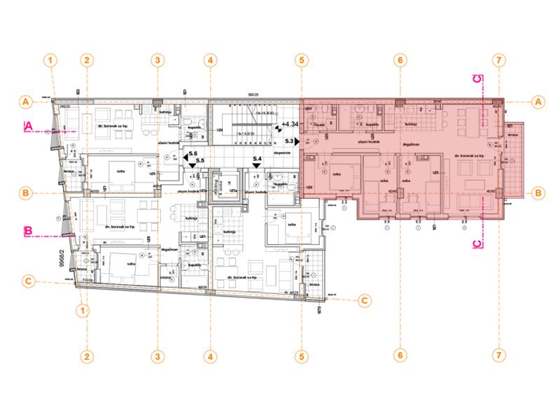 Pozicija na spratu stan 3